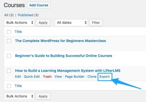LifterLMS Course Export